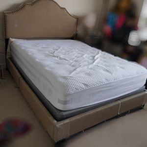 Portman Queen Bed in Fawn with Queen Mattress for Sale in Bethesda, MD