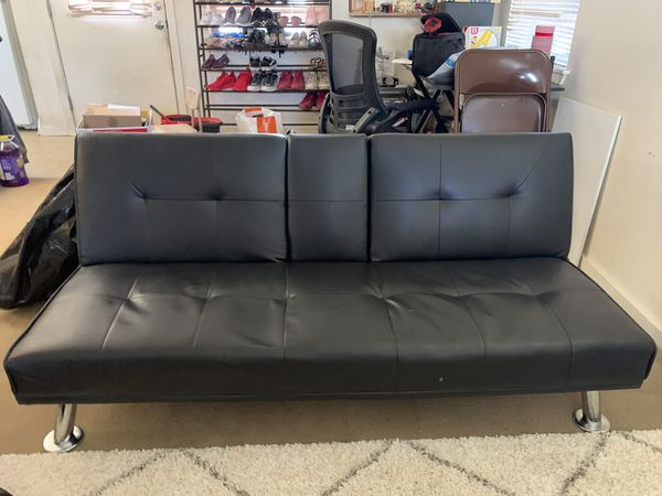 Black Faux Leather Futon Couch
