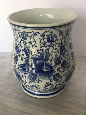 Blue and white ceramic planter pot for Sale in Palm Desert, CA