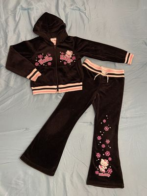 Hello Kitty Girls 2 Piece Black with Pink and White Sweater and Jogger Pants Active Set Size 5/6 for Sale in San Diego, CA
