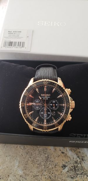 Seiko Solar Chronograph, Rose Gold - Box and tags included. for Sale in Appleton, WI
