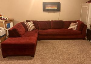 Red suede sectional sofa for Sale in Ashburn, VA