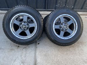 17 inch 6 lug level 8 wheels and pathfinder tires for Sale in Houston, TX