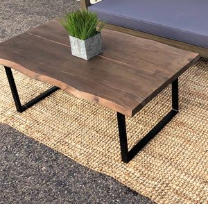Grey washed acacia wood Live Edge coffee table with bow ties for Sale in San Diego, CA