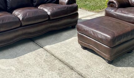 Genuine Leather Couch, Chair, & Ottoman Set for Sale in Ruskin,  FL