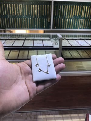 SOLID PURE 14k GOLD LOVE NECKLACE for Sale in Los Angeles, CA