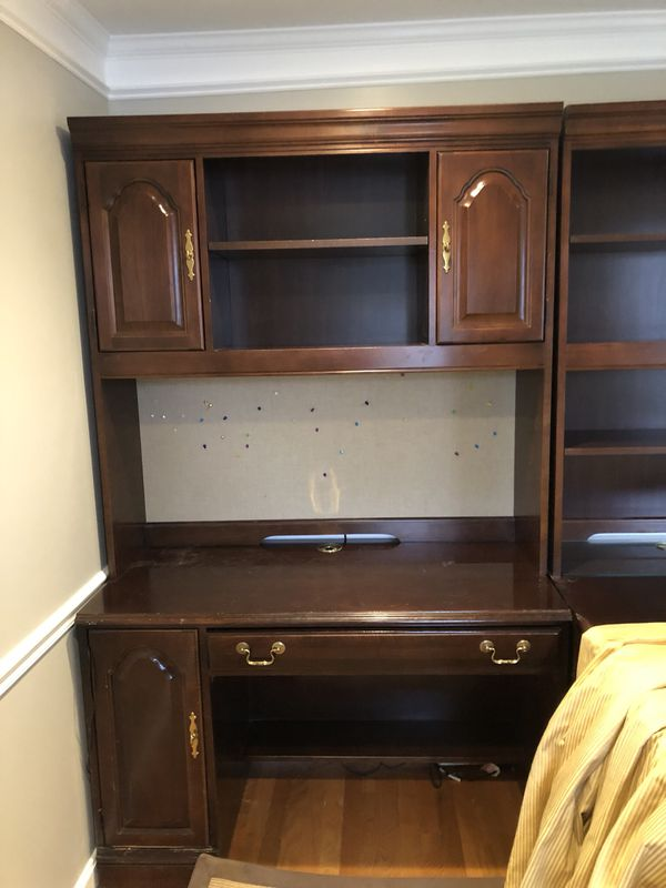 Cherry wood desk with filing cabinet & 2 bookshelves
