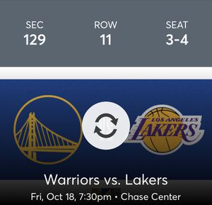 Tonight's warriors game at chase stadium vs Lakers for Sale in San Francisco, CA