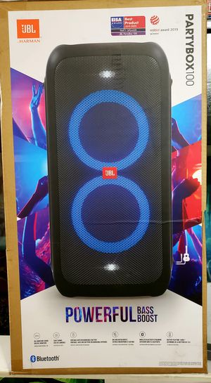 Jbl party box 100 with lights bluetooth battery life 12hrs sounds amazing brand new for Sale in Riverside, CA