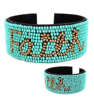 *NEW ARRIVAL* Handmade Seed Bead Turquoise FAITH Cuff Bracelet *See Other 300 Items* for Sale in Palm Beach Gardens, FL