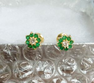 Natural Emerald and diamond post earrings for Sale in Millstone, NJ