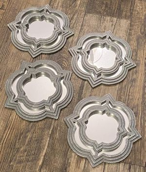 Set of 4 Silver Modern Glamorous Framed Wall Hanging Accent Mirrors Home Decoration Accent for Sale in Chapel Hill, NC