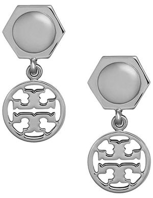 TORY Burch Designer Logo SILVER DANGLE DROP Earrings for Sale in Macomb, MI