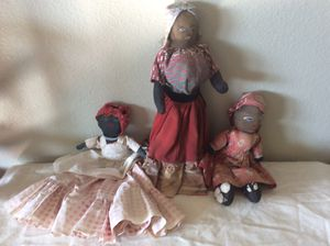Lot of 3 antique black rag dolls for Sale in Lafayette, CO