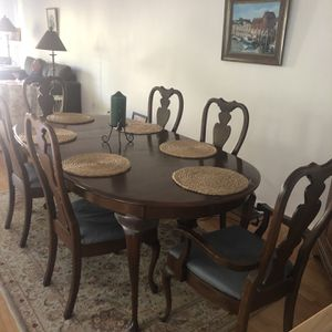 Cherry Dining Table with 8 Chairs for Sale in Bellingham, MA