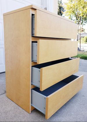 Beautiful Ikea Malm 4 Drawers Drawer Dresser Chest Clothes Storage Stand Unit Cabinet Organizer for Sale in Monterey Park, CA