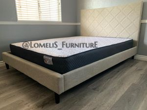 Queen beige pabbed bed w. Supreme orthopedic mattress included for Sale in CORONA DL MAR, CA