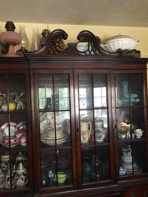 Antique Mahogany Chippendale Breakfront China Cabinet Hidden Desktop! for Sale in Cary, NC