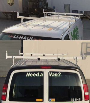 New in box adjustable 2 bars rain gutter mount ladder rack with ladder stopper for Sale in West Covina, CA