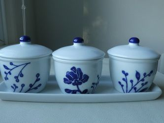 Set Of 3 Porcelain Condiment Bowls/Jars With Lids And Tray for Sale in Fallston,  MD