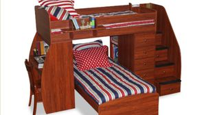 Twin over twin bed w steps and desk for Sale in Westville, NJ