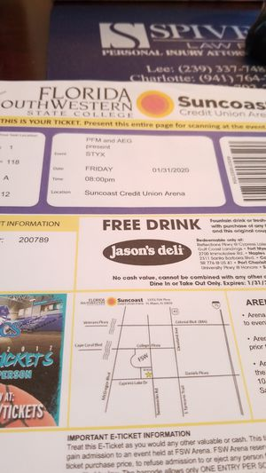 Styx tickets for Sale in Fort Myers Beach, FL