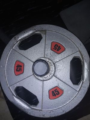 2 Olympic bar plate weights 45 Lbs each NO BAR for Sale in Montclair, CA