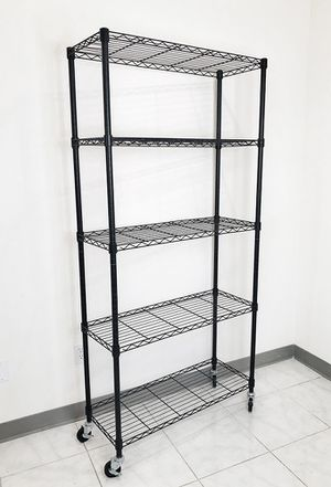 "New $70 Metal 5-Shelf Shelving Storage Unit Wire Organizer Rack Adjustable w/ Wheel Casters 36x14x74"" for Sale in El Monte, CA"