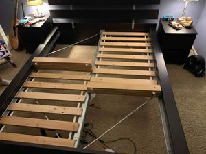 Black IKEA queen bed frame and two night stands for Sale in Aurora, IL