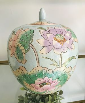 Stunning turquoise oriental jar with floral design for Sale in Tucker, GA