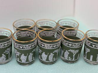 Vintage Hazel Atlas Jeanette Wedgewood Hellenic Jasperware Green Shot Glasses for Sale in Bellevue,  WA
