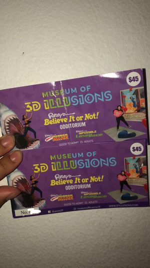 2 ticket to museum of 3d illusions for Sale in Woodside, CA