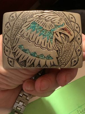 Zuni Native American Turquoise Inlay **SIGNED**Belt Buckle for Sale in Chattanooga, TN