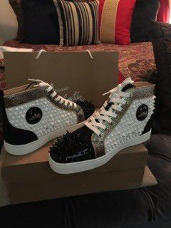 White/Black studded Louboutin Red Bottoms for Sale in Stone Mountain, GA