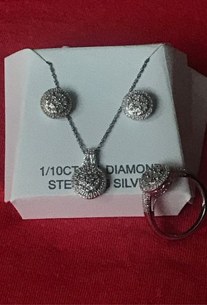 sterling silver and genuine diamond set/ ring earrings and necklace for Sale in Tacoma, WA