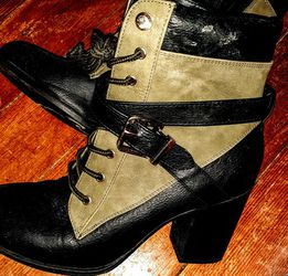 Olive Green And Black Boots With Block Heel Only Wore Twice for Sale in Taunton,  MA