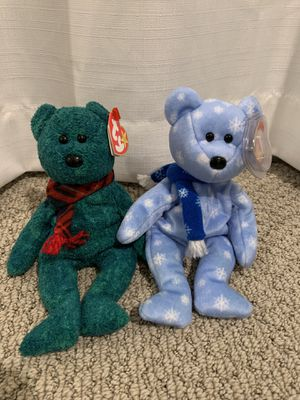 "Ty beanie baby Christmas bears ""Wallace"" ""1999 holiday teddy"" ""1998 holiday teddy"" for Sale in Menifee, CA"
