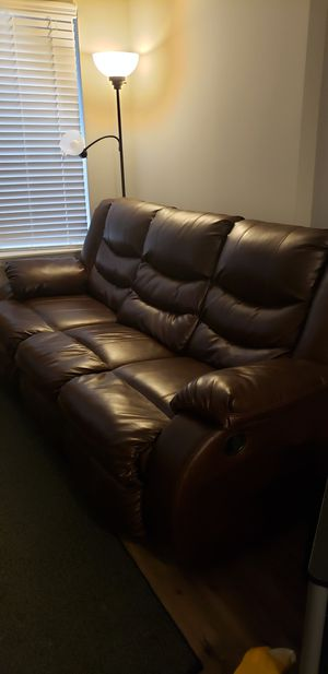 Like-new Brown Leather Couch for Sale in Bethesda, MD