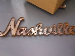 """Metal Nashville Sign 16""""h - 3d Wall Decor, Indoor or Outdoor, Has holes for lights for Sale in Nashville, TN"""