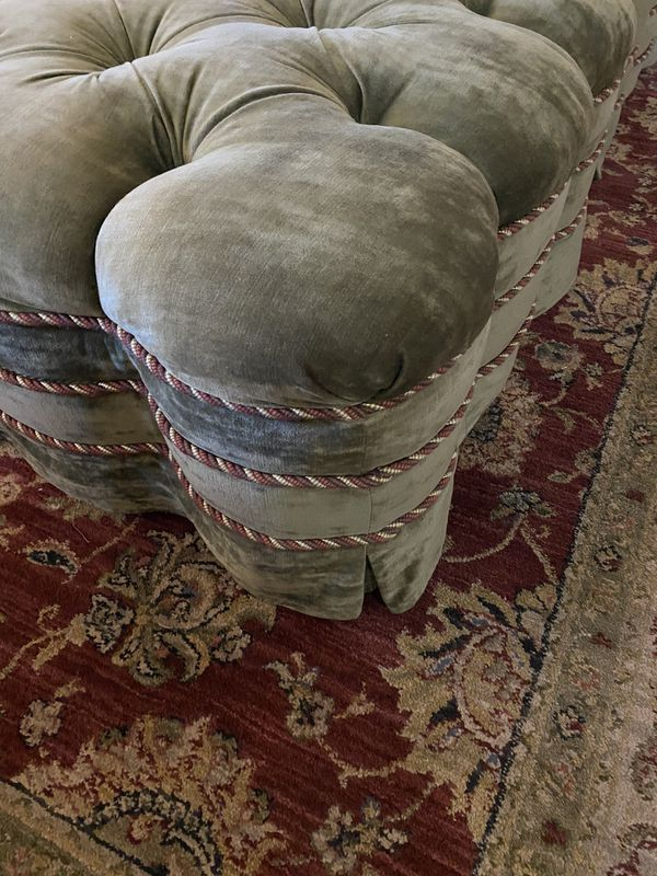 2 Sage Green Tufted Ottomans Very Comfortable 31x31x16