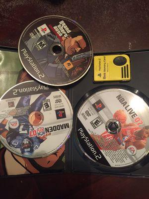 3 juegos PS2 y memoria for Sale in Beltsville, MD