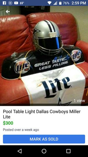 Dallas Cowboys Pool table light . for Sale in San Angelo, TX
