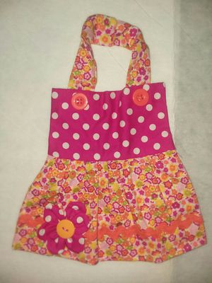 New Handmade Apron Dress Girl Baby Bib 0-6mo Pink Orange Flowers 0-6mo for Sale in St. Louis, MO