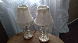 Antique Glass Lamps with Lace Shades for Sale in Lakehurst, NJ
