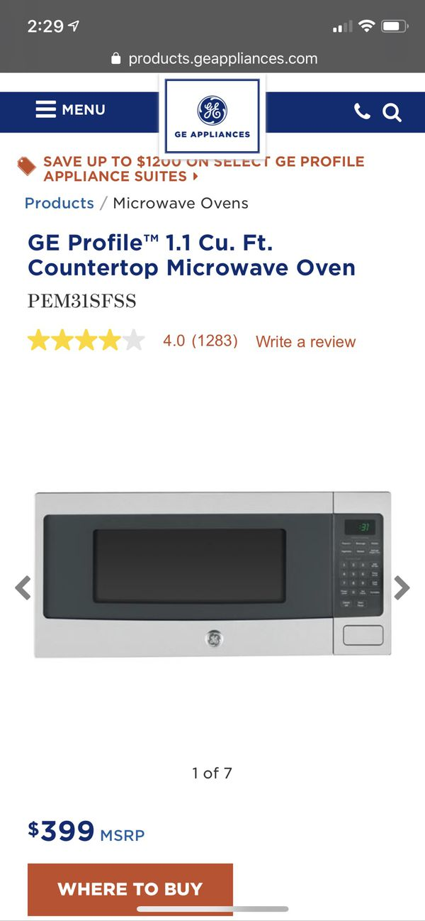 GE Microwave - Jan 2018 model Orig. $399