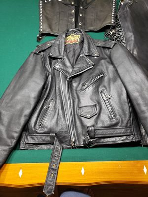 Leather motorcycle jackets, leather vest, leather chaps and boots. for Sale in Fort Lauderdale, FL