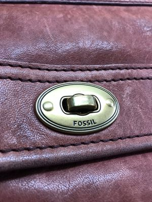 Fossil Deep Wine Burgundy Genuine Leather Cross Body Messenger Bag with Long Strap for Sale in Riverside, CA