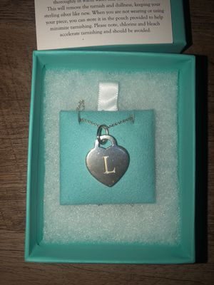 TIFFANY & CO 18in silver heart tag letter L for Sale in NO POTOMAC, MD
