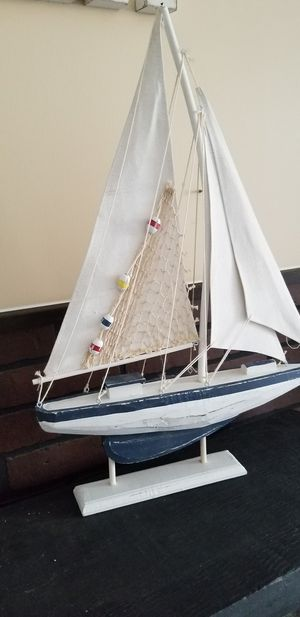 """Ships Chandlery Wooden Pacific Sailer with White Sails Model Sailboat 14"""" - Nautical Decor . for Sale in Riverwoods, IL"""
