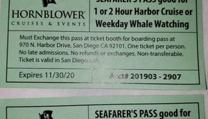 2 tickets for whale watching or 2h harbor cruise for Sale in Bellevue, WA